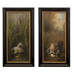 Pair of French Mid-19th Century Napoleon III Period Oil on Canvas Paintings