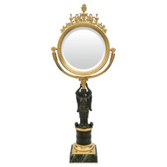 French 19th Century Empire Style Patinated Bronze and Ormolu Vanity Mirror