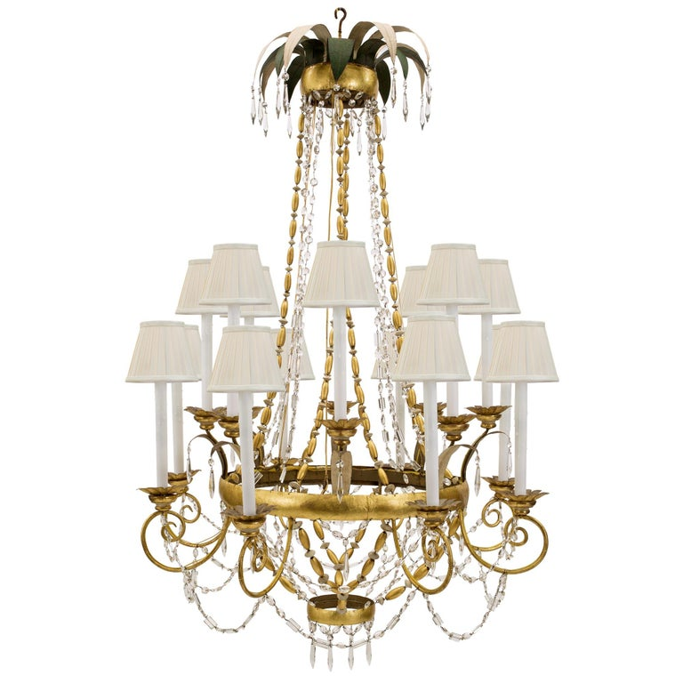 Italian 18th Century Gilt Metal, Giltwood and Patinated Wood Chandelier