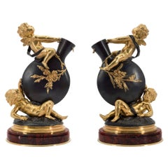Pair of French 19th Century Louis XVI Style Vases Signed by Auguste Moreau