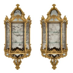 Pair of Italian 19th Century Baroque St. Wall Mounted Giltwood Étagères