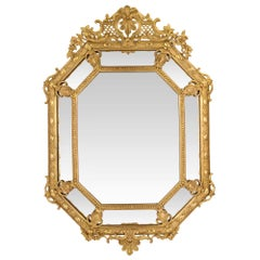 French 19th Century Louis XVI Style Double Framed Octagonal Giltwood Mirror