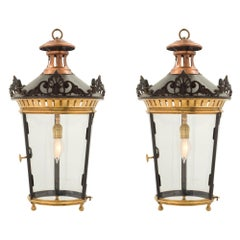 Pair of French 19th Century Louis XVI Style Bronze, Ormolu and Copper Lanterns