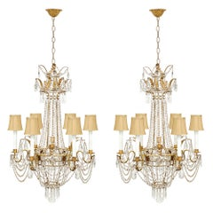 Pair of Italian Turn-of-the-Century Louis XVI Style Chandeliers
