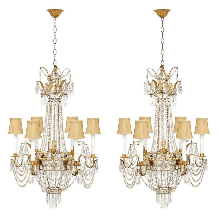 Pair of italian turn of the century louis xvi style chandeliers for pair of italian turn of the century louis xvi style chandeliers for sale aloadofball Choice Image