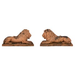 Pair of Italian, Mid-19th Century Terra Cotta Lions, circa 1850