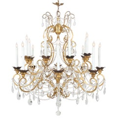 Italian 19th Century Gilt Metal, Wood and Crystal Genovese Chandelier