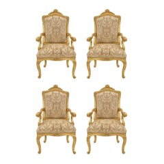 Set of Four Italian 18th Century Louis XV Period Armchairs from Genoa