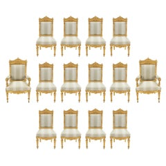 Set of 14 French 19th Century Louis XVI Style Giltwood Dining Chairs