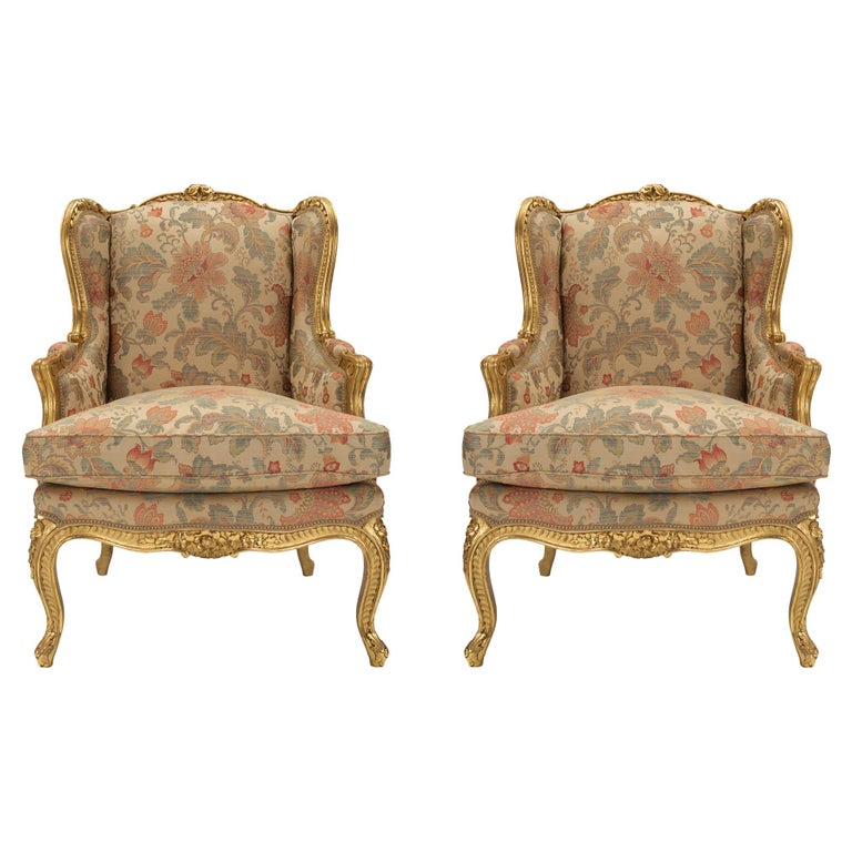 Pair of French 19th Century Louis XV Style Giltwood Bergères a Oreilles