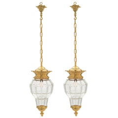 Pair of French 19th Century Louis XVI Style Ormolu and Crystal Lanterns
