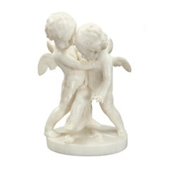 French 19th Century White Carrara Marble Statue of Eros and Anteros