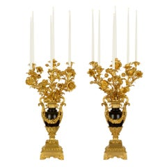 Pair of French Mid-19th Century Louis Philippe Six-Arm Electrified Candelabra