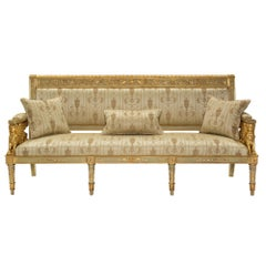 Italian 19th Century Neoclassical Style Settee with Egyptian Revival Influence