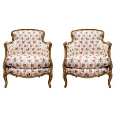 Pair of French 19th Century French Louis XV Style Patinated Bergères