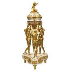 French 19th Century Louis XVI Style Ormolu, Carrara Marble Annular Clock