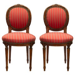 Pair of French Mid-19th Century Louis XVI Style Oak Oval Back Side Chairs