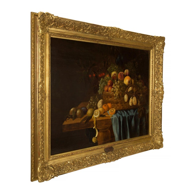 A stunning Dutch 17th century still life painting signed and dated by Carel Van Hullegarden 1653. The still life is framed within a beautiful and richly carved 19th century giltwood frame with a coeur de rai pattern and mottled design with striking