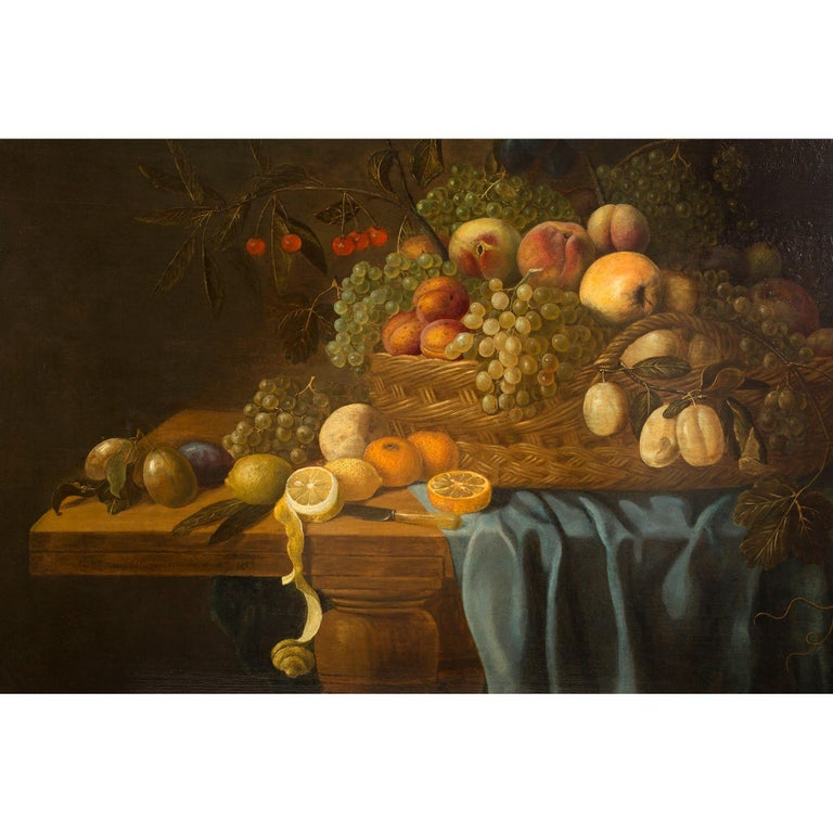 Dutch 17th Century Painting Signed Carel Van Hullegarden, 1653 In Excellent Condition For Sale In West Palm Beach, FL