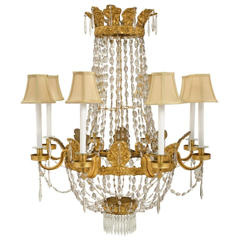 Italian 18th Century Pressed Gilt Metal and Crystal Eight-Light Chandelier