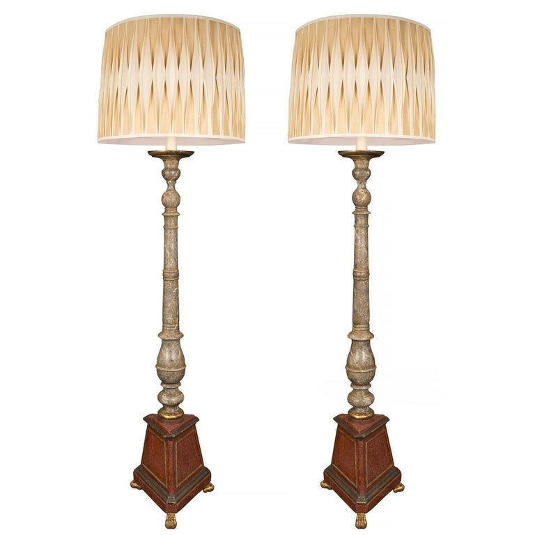 Pair of Italian 19th Century Faux Painted Marble Floor Lamp