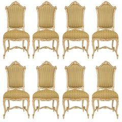 Set of Eight Italian 19th Century Giltwood Venetian Dining Chairs