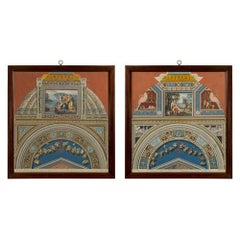 Pair of Italian 18th Century Fresco Pilasters Prints