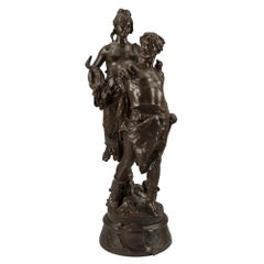 French 19th Century Patinated Bronze Statue Signed Marioton