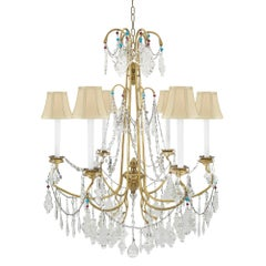 Italian 19th Century Six-Light Giltwood and Crystal Genovese Chandelier