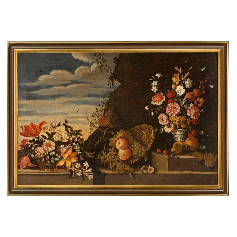 Italian 18th Century Oil on Canvas Still Life