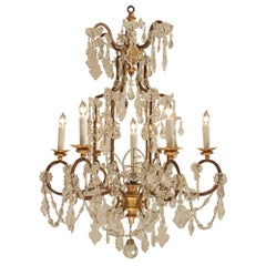 Italian 19th Century Giltwood and Crystal Seven-Light Chandelier