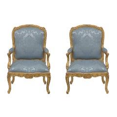 Pair of French Louis XV Style Giltwood Fauteuils À La Reine