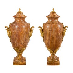 Pair of French, 19th Century Louis XVI Style Lidded Marble Urns