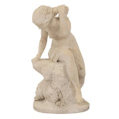Italian 18th Century White Carrara Marble Statue of a Bathing Maiden
