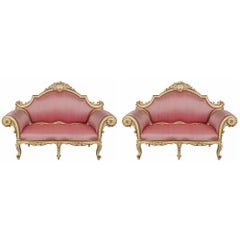 Pair of Italian 19th Century Louis XV Style Giltwood Venetian Settees