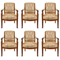 Set of Six French Early 19th Century Directoire Period Armchairs