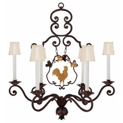 French 19th Century Louis XV Style Iron and Gilt Iron Six-Light Chandelier