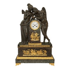 French Mid-19th Century Empire Style Clock of Cupid and Psych