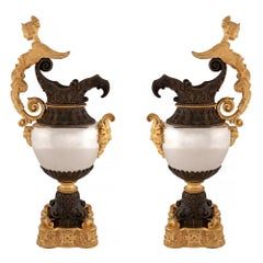 Pair of French 19th Century Renaissance Style Silvered Bronze, Ormolu Ewers