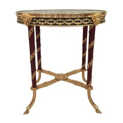 French 19th Century Louis XVI Style Mahogany and Vert Campan Marble Side Table