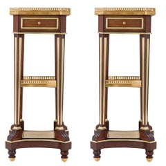 Pair of French 19th Century Louis XVI Style Mahogany and Ormolu Side Tables