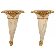 Pair of Italian 18th Century Venetian Faux Marble and Giltwood Wall Brackets