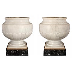 Pair of French 19th Century Louis XVI Style White Carrara Urns
