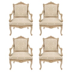 Set of Four French Mid-19th Century Louis XV Style Patinated off White Armchairs