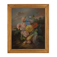 French Mid-19th Century Signed Pastel Dated 1854