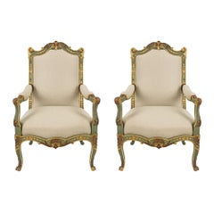 French Early 19th Century Louis XV Style Patinated and Giltwood Armchairs
