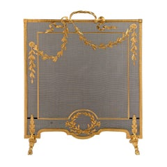 French 19th Century Louis XVI Style Ormolu Fire Screen