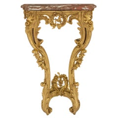 French 18th Century Louis XV Period Giltwood and Sarrancolin Marble Console