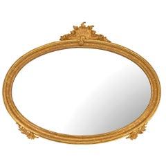 Italian 19th Century Louis XV St. Giltwood Oval Mirror