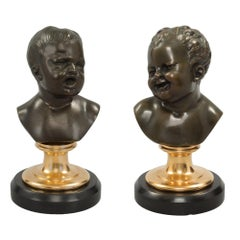 Pair of French 19th Century Louis XVI Style Marble, Ormolu and Bronze Statues